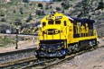 ATSF C30-7 8064 heads downhill at the Tehachapi loop in April 1987.
