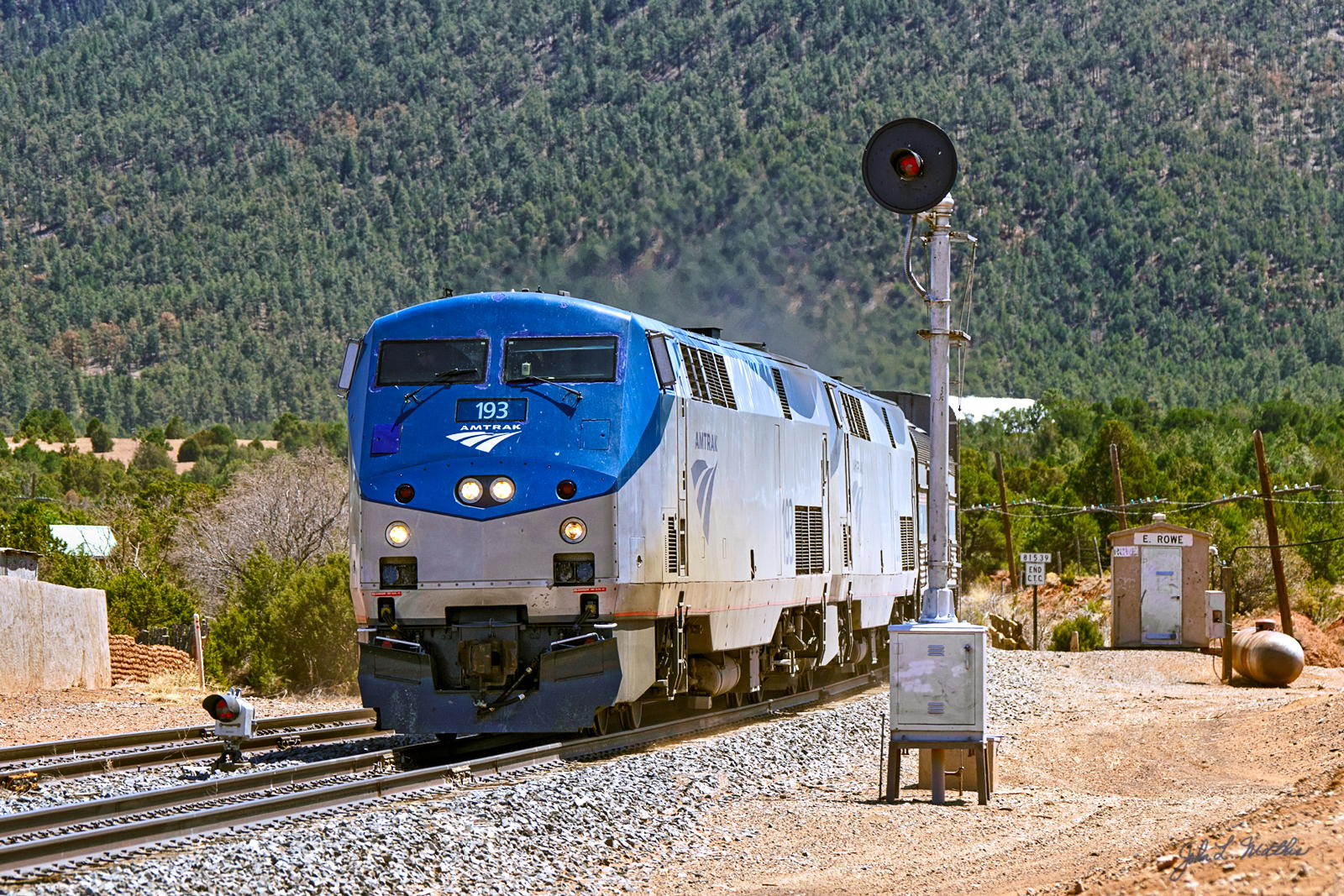 Amtrak 193 at East Rowe, NM on April 19, 2013.