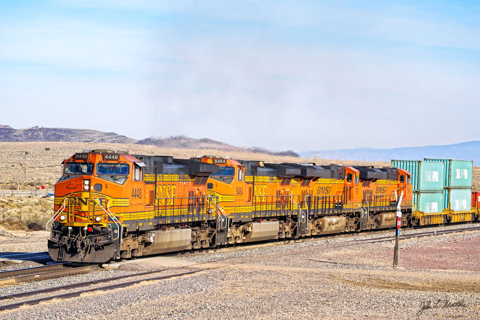BNSF 4448 westbound approaching Dalies Jct., NM on November 29, 2013..
