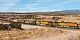 BNSF 4993 exits Abo canyon at Scholle, NM with an eastbound empty grain train on March 1, 2011.