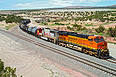 BNSF 7443 and 8208 leave Abo Canyon on September 11, 2011.
