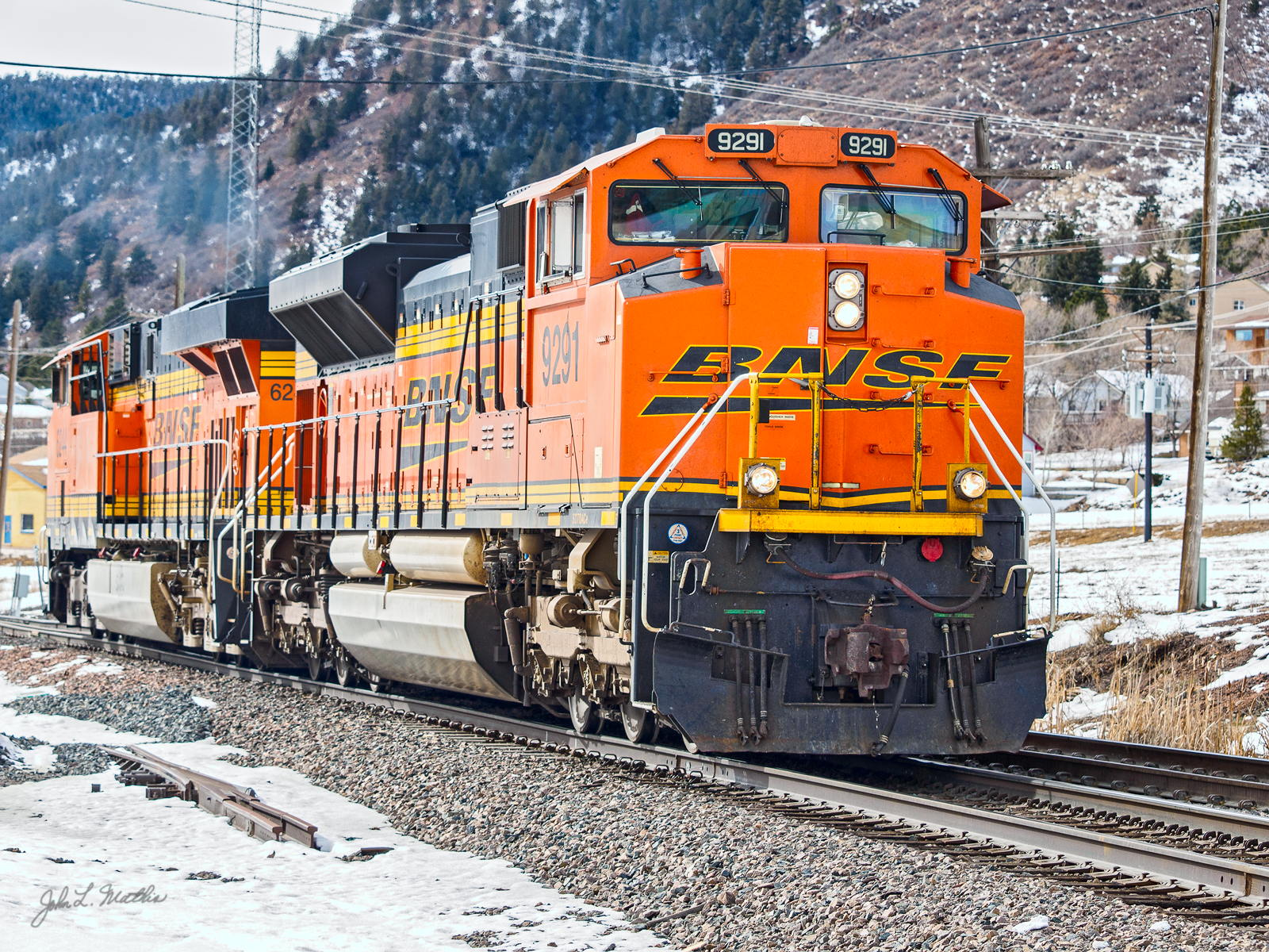 BNSF 9291 heads back downhill at Palmer Lake on February 9, 2014.